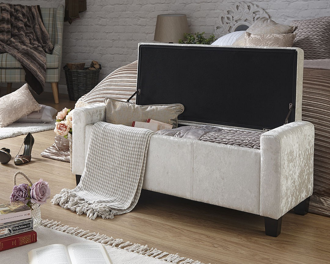 Ottomans Ellis Dark Grey Velvet Finish Storage Chest: Verona Crushed Velvet Ottoman Storage Bench